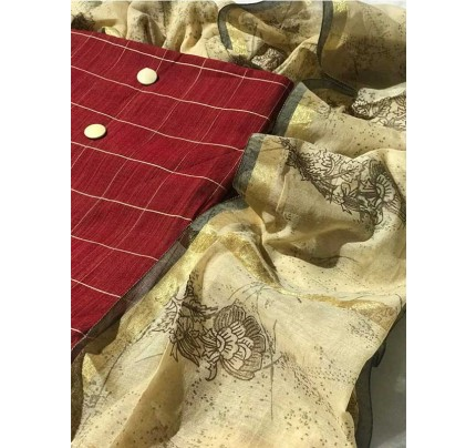 Marron  Color Silk Chex Fabric with COtton Bottom  Suit