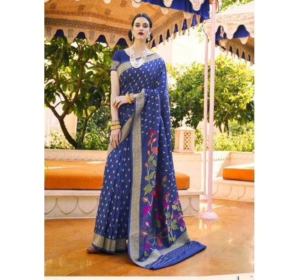 Elegance Look Blue Colour Handloom Silk Weaving Saree