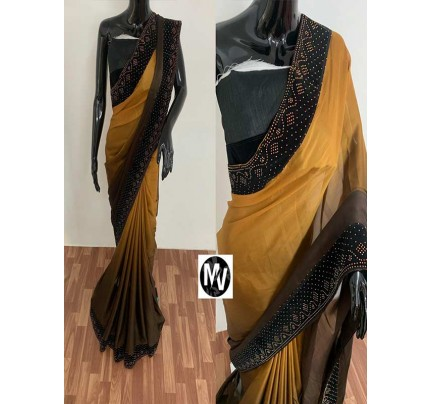 Wedding Season Golden color Rangoli Silk Fabric with machine stone diamond work Saree