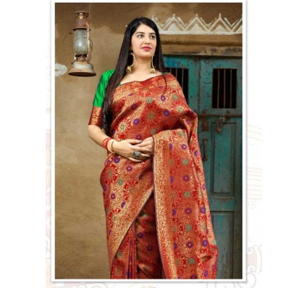Stunning Look Red Colour Soft Banarasi silk Pure Paithani Silk saree