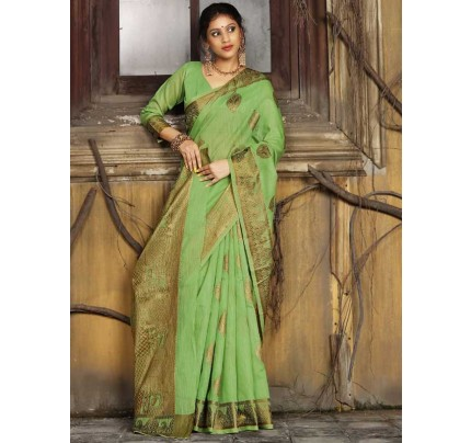 New Trending Green Colour Soft Weaving Cotton With Jequard Border Saree