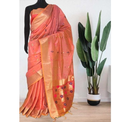 Beautiful Peach Soft Handloom Cotton Weaving Saree With Meenakari Butti And Contrast  Woven Pallu Saree