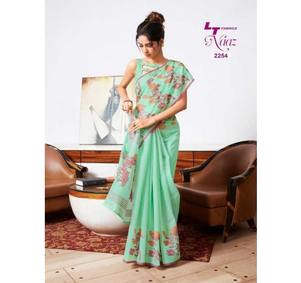 Stunning Green Color Soft Cotton Fabric Printed Saree
