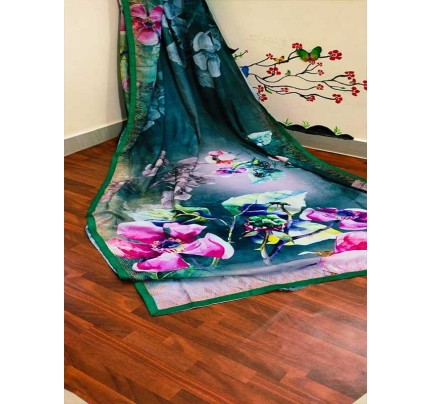 Latest Traditional Look Multi Color  Pure Soft Silk Saree With Digital Print And Sivoski Work Border In All Over Saree