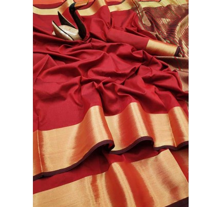 Latest Traditional Look Red Color Dola Silk Saree With Golden Weaving Border And Weaving Pallu