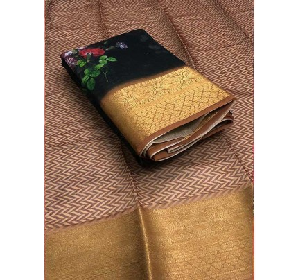 Stunning Multi Color Raw Silk Saree