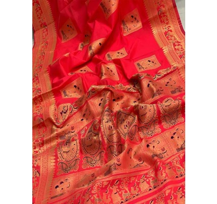 Stunning Look Red Colour Soft Banarasi Silk Zari Rich Saree