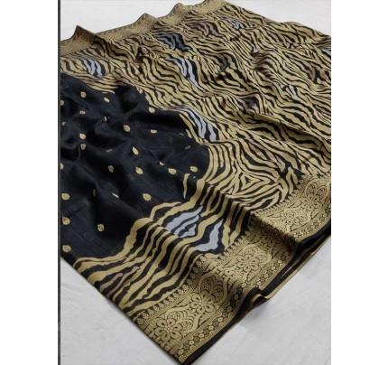 Pretty Look Black Color Soft Krystal Silk  Saree