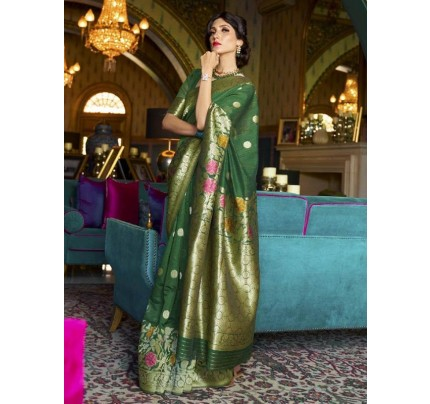 New Eye Catcher Green Color Pure Soft Silk weaving Saree