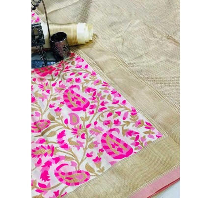 Beautiful  Multi Color Reach Tusser Silk Weaving Jecard  Saree With Running Blouse