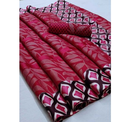 Latest Modern Look Red Color  Soft Braso Silk Saree