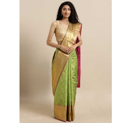 New Green Colour  Kanjeevaram Woven Design Saree