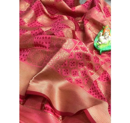 Attractive Look Pink Colour  Banarasi Patola Silk Saree With  Meenakari Border And Pallu