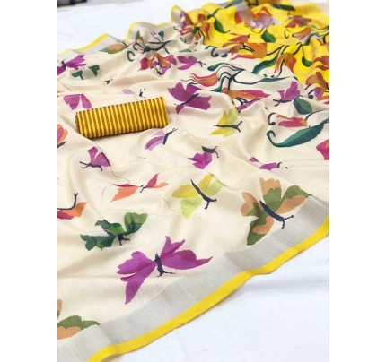 Wedding Look Multi Color Pure Linen Silk with kasab Zari yarn Saree