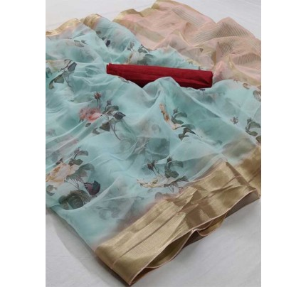 Multi Color Soft Organza Silk Saree