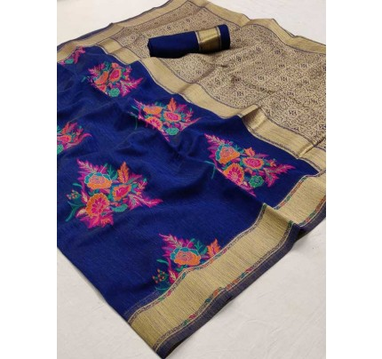 Beautiful Look Blue Color Pure Linen Saree