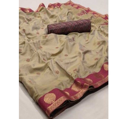Beautiful Look Cream Color Pure Linen Saree