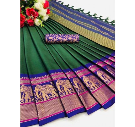 Elegance Look Green Colour Cotton Silk Saree with Broad contrast border