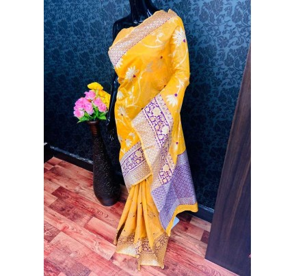 Beautiful Yellow Soft Handloom Cotton silverzari weaving Saree