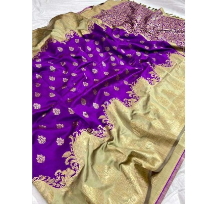 Wedding Look Purple color Pure Jacquard Fabrics With Resham Zari Work Saree