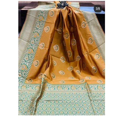 Special Edition Golden Color Banarasi Silk Minakari Weaving Work Saree