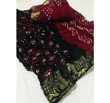 Design Black Color  Cotton  Base Bandhani  Silk Saree