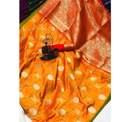 Stylish Look Orange Colour Soft Silk with silver & gold zari weaving work saree