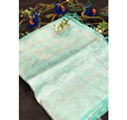 Stunning Look Cyan Colour Pure Banarasi Silk with pure Silver kasab Jari yarn