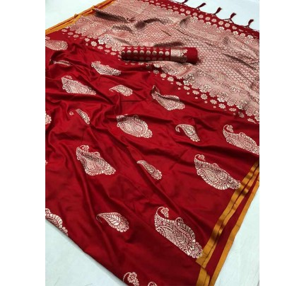 Beautiful  Red Color Pure Silk  Branded Saree