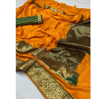 Stylish Look Yellow Colour Mogha Silk Saree With a Weaving Border Concept Saree