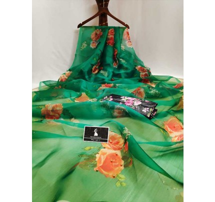Trending Green Colored Beautiful Organza Digital Printed Saree