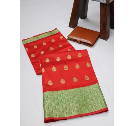 Married Season Red Color Soft Weaving Silk Saree
