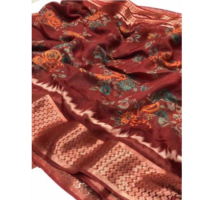 Beautiful Red Color Linen Slub  Fabric Saree