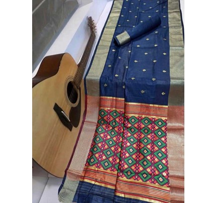 Stunning Blue Color Soft Cotton Silk Saree with weaving