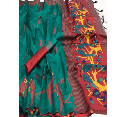 Beautiful Rama Handloom Raw Silk Weaving Saree