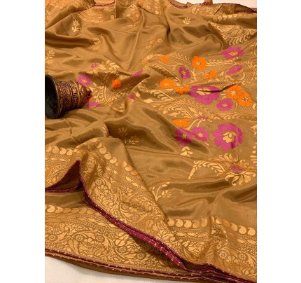 Graceful combination Beige Color Saree Of Pure Vichitra Silk  Saree