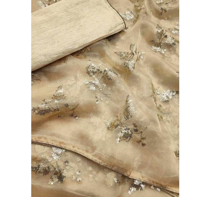 Trending Cream Colored Pure Organza With Sequence Work In Saree