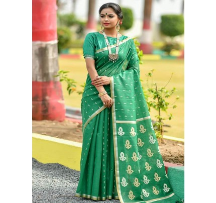 Wedding Look Green Color Linen Silk Saree with Gold Zari weaving all over