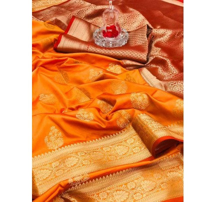 Special Edition Orange Color Soft Silk gold Zari with weaving design border