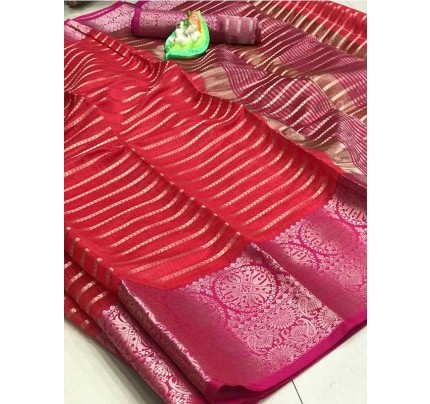 Elegance Look Red Colored Soft Cotton Weaving Saree