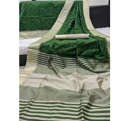 Beautiful Green Handloom Raw Silk Saree With Embroidered Cut Work All Over