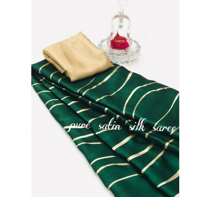 Classic Look Green Color Pure Satin Silk With Floral Print Saree