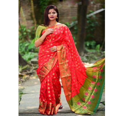 Rich Look Red Colour Soft Banarasi Silk Weaving Work Saree with zari woven pallu
