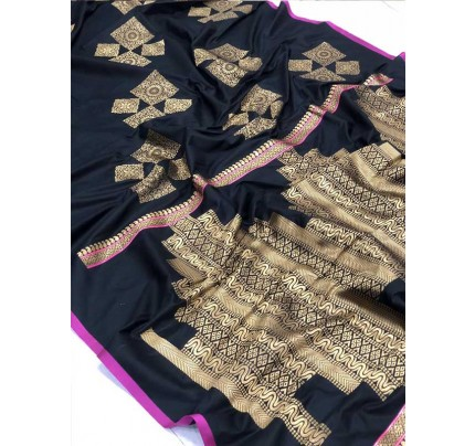 Wedding Look Black Color Banarsi Silk with Silver zari Saree