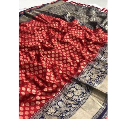 Festival Look Red Colour  Pure Jacquard Resham Zari Work Vibrant 2 Colours Saree