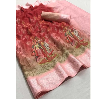 Beautiful Red Color Soft muslin With Viscous border With Digital Print Saree
