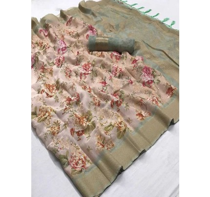 Beautiful Multi Color Soft Muslin Silk Saree