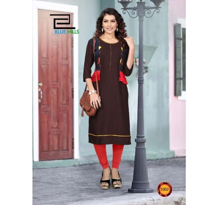 Brown color Heavy Rayon Printed Kurti With Hand Work