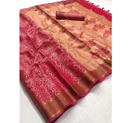 Festival Style Multi Color Self Satin Handloom Weaving Saree