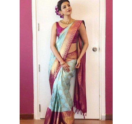 Graceful combination Cyan Color Soft Lichi Silk Saree